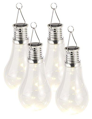 Lunartec Solarbirne: 4er-Set Solar-LED-Lampen in Glühbirnen-Form, 3 warmweiße LEDs, 2 Lumen (Solar Birnen) (Lampen-set 3)