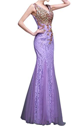 Gorgeous Bride Beliebt Meerjungfrau Tuell Spitze Abendkleider Lang Festkleider Ballkleider Lilac