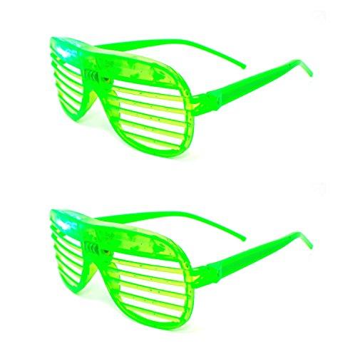 Ultra ® 2 grün blinken Retro LED-Brille für Erwachsene und Kids Parties Party-Events Raves Dance Clubs und Kostüm Parties Pink Green Blue lila weiß gefärbt Schlitz Farben Neuheit Brillen Glowing (Benutzerdefinierte Kostüme Tanz)