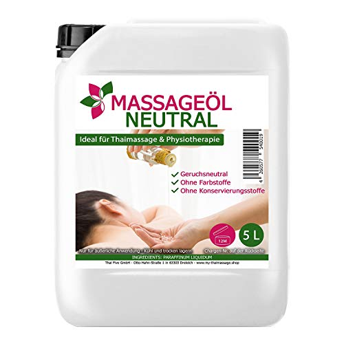 Massageöl neutral 5 Liter (5000ml) MyThaiMassage - Öl für Thai Massage Physiotherapie Spa Basisöl ohne Duft im 5l Kanister (Thai-massage öl)