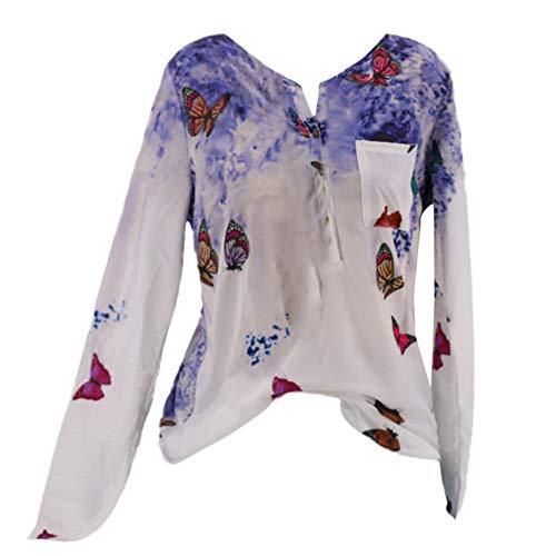 3-knopf-gerippte Hoodie (Drucken Tops Damen Lange Ärmel T-Shirt Bluse mit Knöpfen MYMYG Frau Pullover Langarmshirt Sweatshirt (Blau,EU:48/CN-5XL))