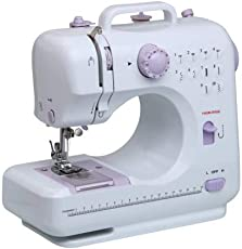 Rachees Multifunctional Electric Sewing Machine Speed Adjustable Replaceable Foot with Pedal LED Light 12 Built-in Stitch Patterns