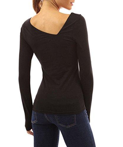 Minetom Femmes Manches Longues Col V Splice Shirt Blouse Tops T-Shirt Noir