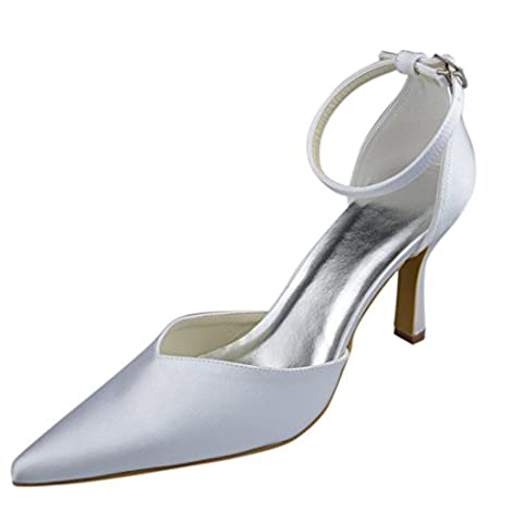 Minitoo Y0037 Womens Stiletto High Heel Ivory Satin Evening Party Bridal Wedding Strappy Shoes UK 9
