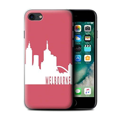 Stuff4 Hülle / Case für Apple iPhone 7 / London/Orange Muster / Stadt Skyline Kollektion Melbourne/Rot