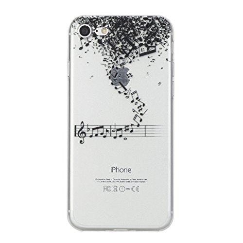 Per iPhone 7 4.7 Custodia morbido,Herzzer Mode Crystal Creativo Elegante Fenicottero Quadro Dipinto Design trasparente case cover,Protettivo Skin in Liscio Smooth Toccare Unico Molto sottile Modeling Note musicali