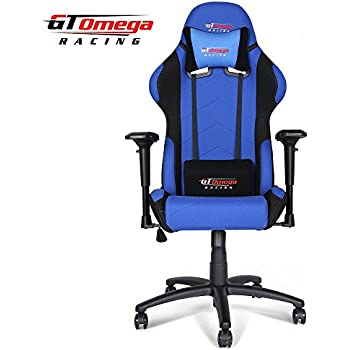 Gt Omega Pro Racing Office Chair Blue And Black Fabric Amazon Co