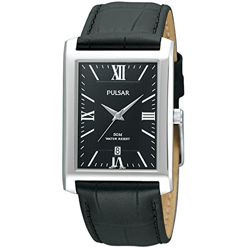 Pulsar Mens Stainless Steel Black Rectangular Dial Leather PXDB71X1