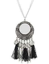 Andaaz Designer High Quality Oxidized German Silver Coin Black Tassel Necklace For Women And Girls