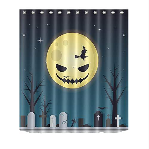 Duschvorhang Bad Wasserdichtes Gewebe Polyester 12 Haken Bad Zubehör Sets Halloween Friedhof Grabstein Spooky Moon