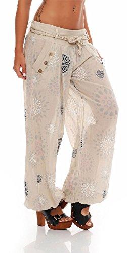 malito Damen Pumphose mit Print | leichte Stoffhose inkl. Gürtel | bequeme Freizeithose | Haremshose