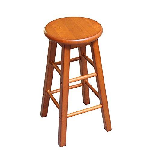 FEI Confortable Tabouret de bar en bois avec repose-pieds et siège rond ✔ Bois d'acacia robuste ✔ Cuisine ✔ Petit-déjeuner ✔ Comptoir ✔ Conservatoire ✔ Café ✔ Pub Solide et durable