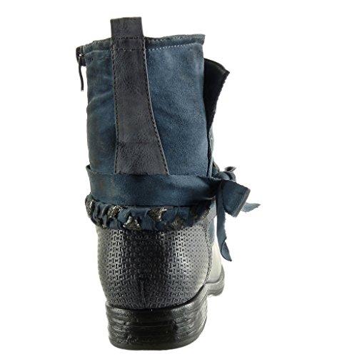 Angkorly - Scarpe da Moda Stivaletti - Scarponcini biker cavalier stile vintage donna intrecciato tanga nodo Tacco a blocco 3 CM - soletta Foderato di Pelliccia Blu