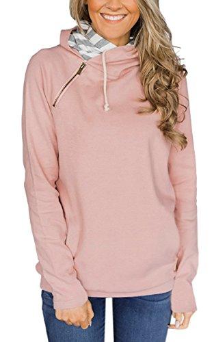 ECOWISH Damen Kontrastfarbe Pulli Pullover Rollkragen Sweatshirt Kapuzenpulli Top Hoodies 600060Rosa L