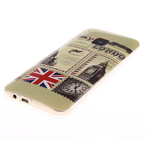HTC One M9 hülle MCHSHOP Ultra Slim Skin Gel TPU hülle weiche Silicone Silikon Schutzhülle Case für HTC One M9 - 1 Kostenlose Stylus (Feder und Flying Birds (Feather and Flying Birds)) Briefpapier und Umschläge Stempel (Letter Paper and Envelope Stamp)