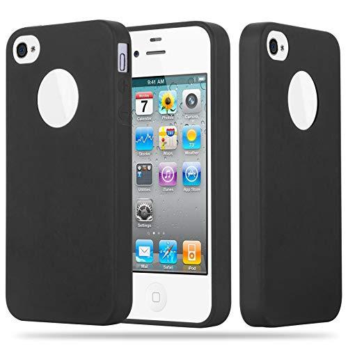 Cadorabo Custodia per Apple iPhone 4 / iPhone 4S in Candy Nero – Morbida Cover Protettiva Sottile di Silicone TPU con Bordo Protezione – Ultra Slim Case Antiurto Gel Back Bumper Guscio