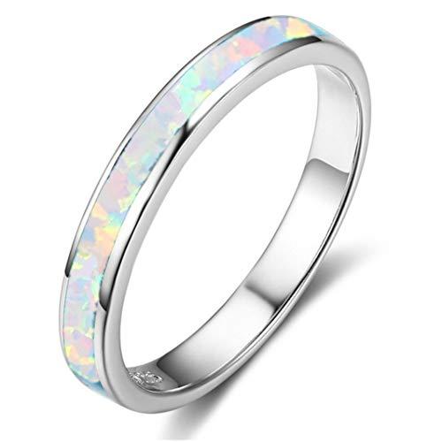 SHIJIAN Multi Größen Einfache Single Circle Opal Bunte Ring Zubehör für Frauen und Mädchen Party Schmuck Geburtstagsgeschenk, 5 # (Größe Ring 5 Opal)