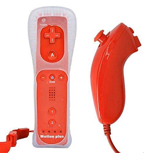 Bigfox 2 en 1 Mando Plus con Motion Plus y Nunchunk para Nintendo Wii / Wii U (Opcional a Seis Colores) y Funda de Silicona - Rojo