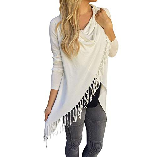 iHENGH Vorweihnachtliche Karnevalsaktion Damen Frauen Langarm Quaste Saum Rundhalsausschnitt Knited Cardigan Bluse Tops Shirt(L,Weiß)