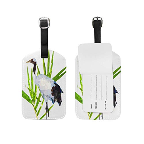 Kofferanhänger mit Ausweis, RedCrowned Crane Leaf Travel Leather Luggage Tags Bagage ID Labels (2 Pcs Set) -