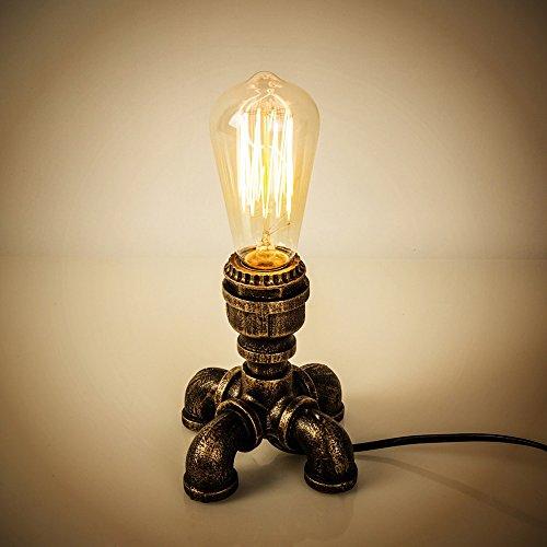 XSPWXN Tischlampe Vintage Iron Craft Wasserrohr Tischleuchte Industrial Schreibtisch Lampe E27 1-Light Base Halter für Home Livingroom Beleuchtung Fixture - Iron-base Tischleuchte