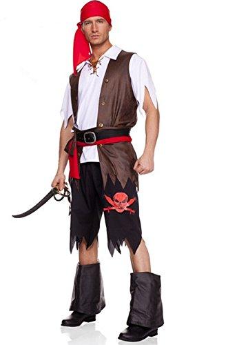 Gorgeous Fluch der Karibik Halloween Maskerade Leistungen Männer Kapitän Piraten-Kostüm- Set
