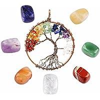 ICEBLUEOR Kettenanhänger, Baum des Lebens mit 7 Heilkristallen und Edelsteinen, zur Erdung, beruhigende Meditation... preisvergleich bei billige-tabletten.eu