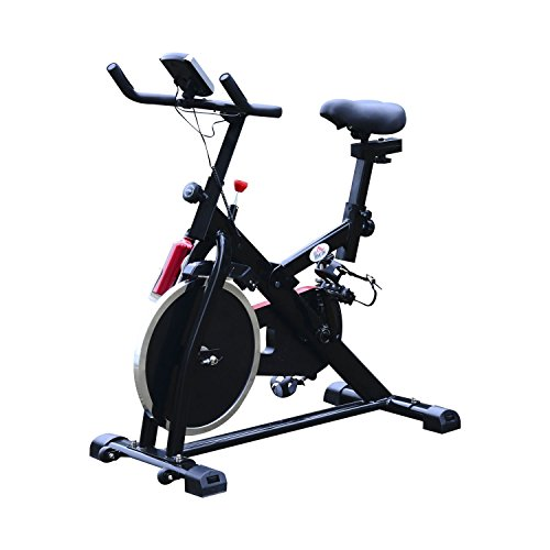 HOMCOM Exercise Bike Sports Cardio Weight Loss Fitness Bicycle Trainer Resistance Aerobic Cycling Workout LCD Adjustable Handle Bars & Seat