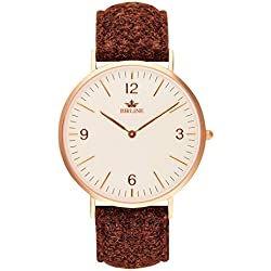 Swiss Quartz Carloway Men's Watch By Birline - Durable Stainless Steel Case - Scratch Resistant Sapphire Glass Lens - Unique Harris Tweed Straps With Soft Leather Backing - 6mm Thick - Elegant Design
