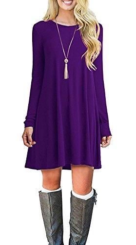 POSESHE Frauen Langarm Casual Loose T-Shirt Kleid