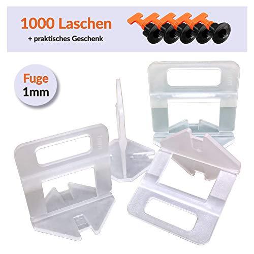 1000 piezas Clips Sistema de nivelación para ancho de junta 1 mm, adecuado para baldosas y azulejos de 3 a 12 mm de espesor. Herramienta de instalación Levello.