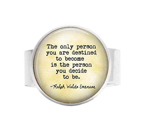aka Ralph Waldo Emerson Ring, Verstellbarer Ring, mit englischsprachigem Zitat, personalisierbar, Geschenk zum Abschluss -
