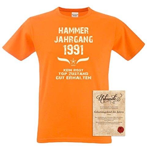 Geschenk zum 26. Geburtstag :-: Geschenkidee Herren Geburtstags T-Shirt mit Jahreszahl :-: Hammer Jahrgang 1991 :-: Geburtstagsgeschenk für Männer :-: Farbe: orange Orange