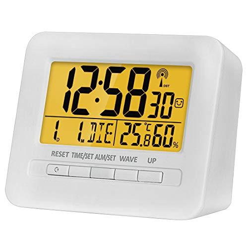 XYNCLK Funkwecker, Wecker Digital Funkuhr, Reisewecker mit Thermo-Hygrometer, FR4 Leiterplatte, Batteriebetrieben, 80° LCD Display, Sanfte Hintergrundbeleuchuntung (5 Sekunden), Weiß Matt