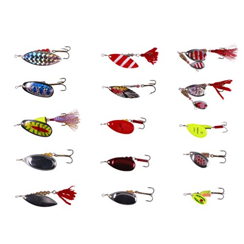 Free Fisher-15pcs Spinner Set Cucharillas Pesca para Lucio Perca Trucha