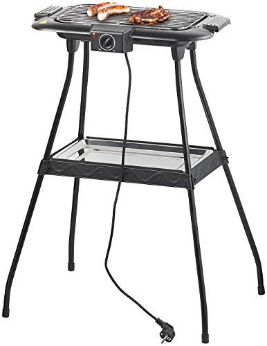 Rosenstein & Söhne Tisch-Grill: Elektrischer 2in1-Stand- und Tischgrill mit Ablage-Tablett, 2.000 Watt (Elektrogrill-Standgrill)
