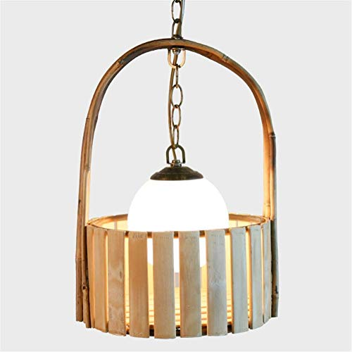 Alvndarling Moderne Glas Kronleuchter E27 Basis, Kronleuchter japanischen kreativen Glas Lampenschirm handgemachte natürliche Bambus Lampe Korb Deckenlampe Lampen