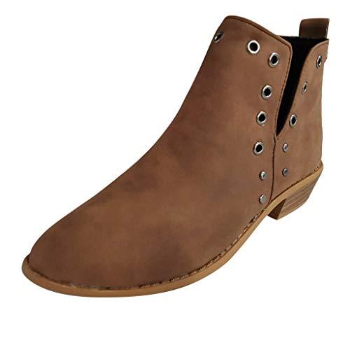 ┃BYEEEt┃ Stivaletti Donna con Tacco Stivali Cuoio Flat Invernale Moda Bassi Blocco Zeppa Eleganti 3cm Comode Ankle Boots Chelsea