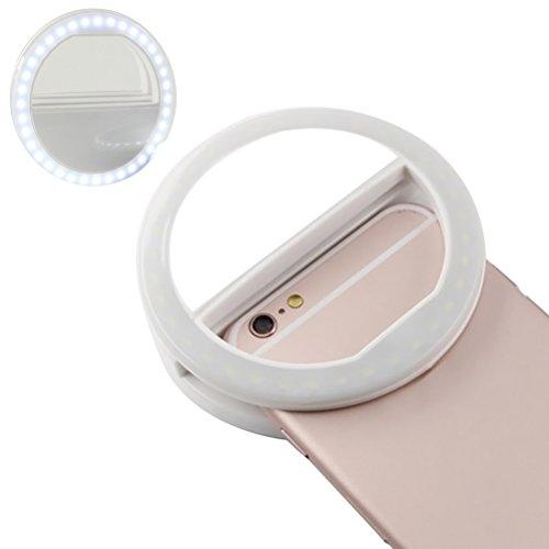 UKCOCO Selfie Ringlicht mit 36   LED-Lampen Blitzlampe Clip Ring Lichter Fill-in Beleuchtung tragbar für Telefon Tablet iPad Laptop-Kamera (weiß)