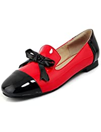 Aisun Damen Lack Kunstleder Kontrastfarbe Schleife Slip on Loafer Slippers 7869b3420d