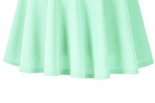 Urban GoCo Donna Moda Svasata Mini Gonna da Pattinatrice Versatile Elastica Solida Colore Gonna Menta verde-lungo