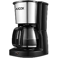 Aicok Cafetière à Filtre, Cafetière Électrique avec Verseuse en Verre, 10 Tasses, 1000W, Sans BPA, Inox, Couleur Noire