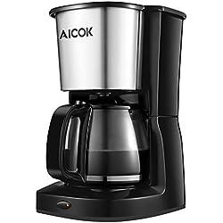 Aicok Cafetera de goteo capacidad de 10 tazas grandes Máquina de café con filtro de vidrio y filtro de malla reutilizable, 1000W, Negro / Acero inoxidable