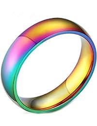 Daesar Joyería Anillo Acero Inoxidable de Mujer Hombre, Ajuste Cómodo Banda Vendas Lesbianas Orgullo Gay LGBT Banda Venda