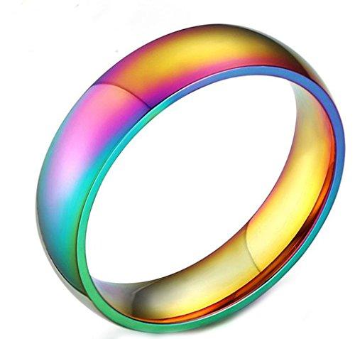 Daesar Edelstahl Regenbogen-Ringe Männer Frauen Komfort-Fit Ringe Lesbianismus Gay Pride LGBT Ring Größe:67 (21.3) (Etwas Für 8 Dollar)