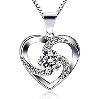 B.Catcher Femme Collier en Argent 925 Pendentif Coeur Gardien de l'amour Saint-Valentin Zirconium cubique Cadeau parfait élégant