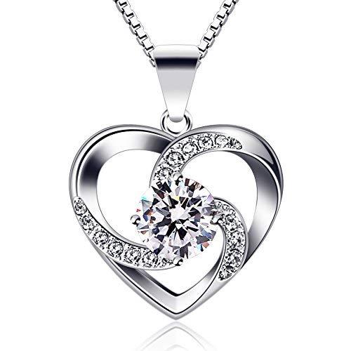 Damen Halskette 925 Sterling Silber Anhänger ''Liebe ist das Glück''Sschmuck Zirkonia 45CM Kettenlänge Geschenk ()