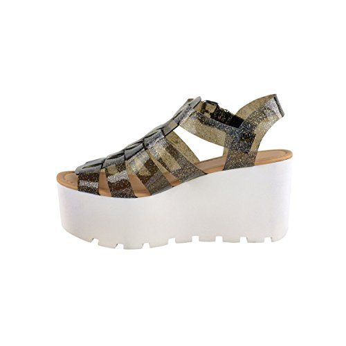 Mesdames Femmes Wedge gladiateur Chunky plate-forme Strappy Sandales Flatform Chaussures Taille BLACK SMOKE GLITTER GLADIATOR