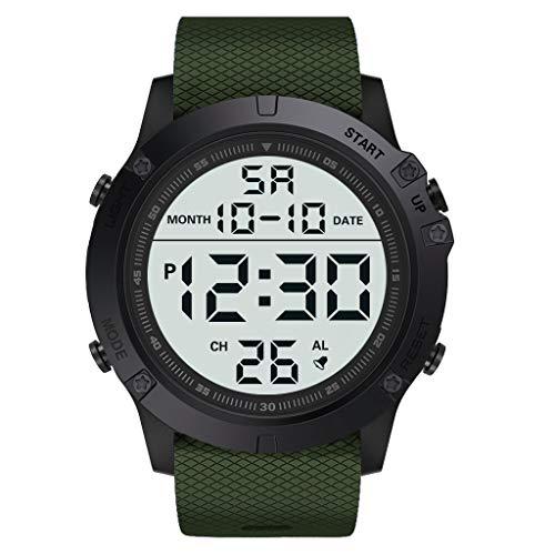 EUCoo_Watch Eucoo Mode Herrenuhr MilitäR Luxus Led Leuchtende Digitale Wasserdichte Uhr Sportuhr(Armeegrün)