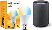 Amazon Echo (3rd Gen, Black) bundle with Wipro 9W white bulb
